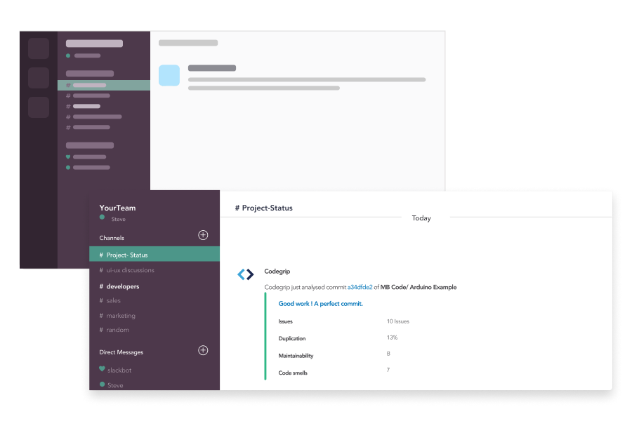 Screenshot showing the slack integration with Codegrip