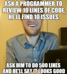 Meme describing coder review
