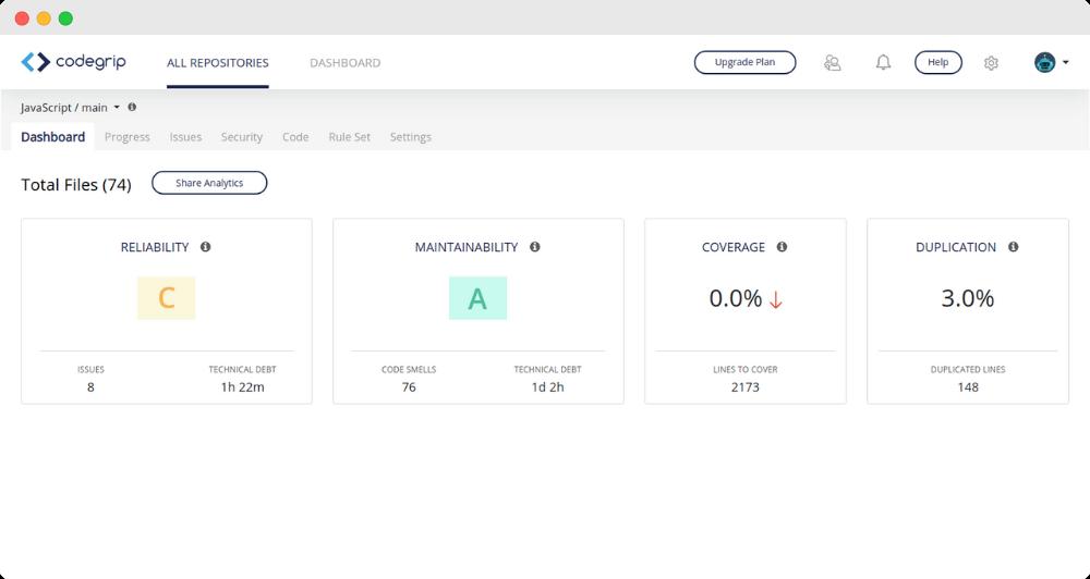 Codegrip JavaScript Dashboard