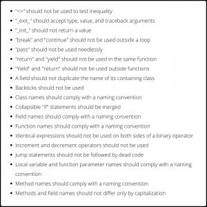 Codegrip Python Rule Set