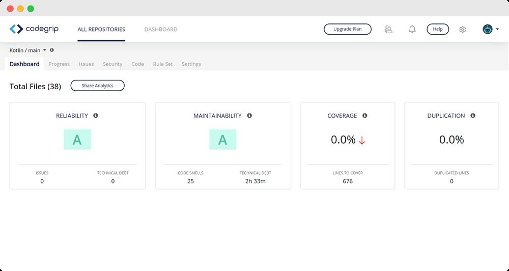 Codegrip Kotlin Dashboard