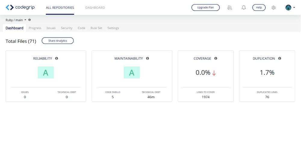 Codegrip Ruby Dashboard