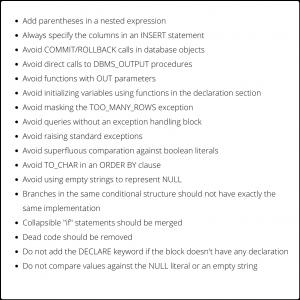 Codegrip PL-SQL Rule set